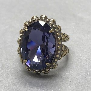 Deep Purple Faceted Oval Crystal Sorrelli Ring,NWT